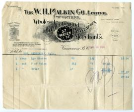 The W.H. Malkin Co., Limited Bill - April 28, 1908