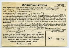 Life Insurance Provisional Receipt - April 1, 1949
