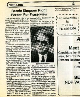 The Link - December 1 - 15, 1989 - Bernie Simpson Right Person For Fraserview