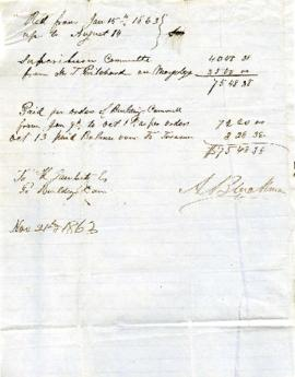 Bill from Jan 15 1863 up to August 14 [1863]