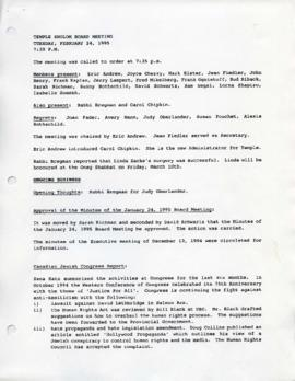 Minutes for Executive Meeting February 24, 1995