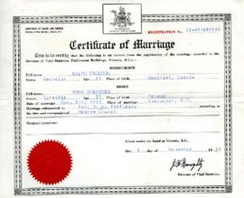 Certificate of Marriage, November 9, 1955