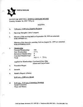 Minutes for Board Meeting, October 26, 1999