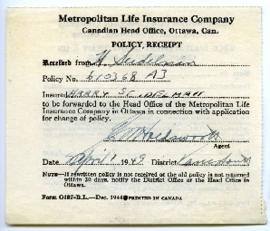 Life Insurance Policy Receipt - April 1, 1949