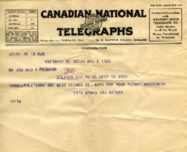 Telegram from Etta Hyman and mother, April 5, 1933
