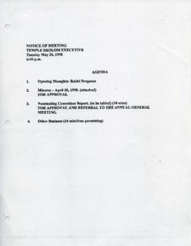 Minutes for Executive Meeting, May 26, 1998