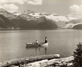 Children fishing from rowboat, Garibaldi Lake, B.C.