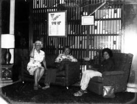 Three women in Golden Age lounge