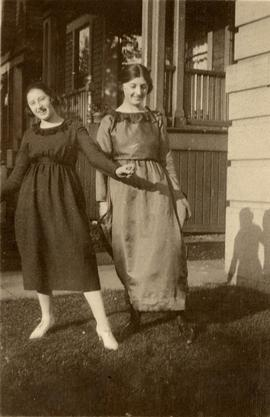 Two teenage girls from the Seidelman family, in costume