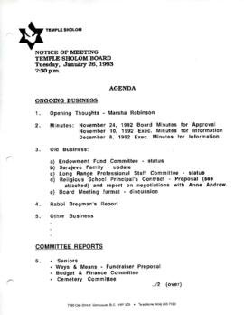 Minutes for Board Meeting, January 26, 1993