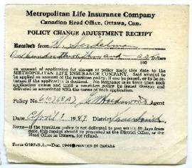 Life Insurance Policy Change Adjustment Receipt - April 1, 1949