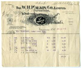 The W.H. Malkin Co., Limited Bill - January 30, 1908