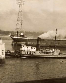 "A barge and tugboat, ""Lorne"", at the site of the Second Narrow's Bridge collapse"
