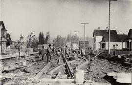 Railway construction on Powell Street