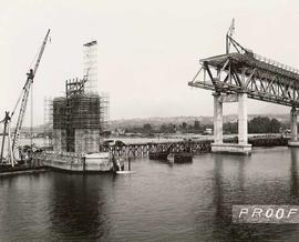 Second Narrows Bridge with Piers and Crane, course of construction, proof