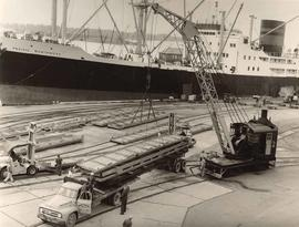 Canadian Stevedoring Co. Ltd., loading trucks at Pacific Coast Terminal, New Wesminster