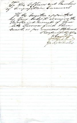 [Committee to check the books and accounts of the late treasurer] - November 22, 1863