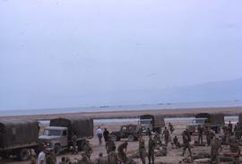 Soldiers and military vehicles