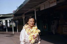 Phyliss Snider wearing a flower lei