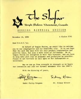 The Shofar - Special Edition, November 1980