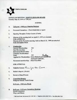 Minutes for Board Meeting, May 25, 1999