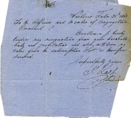 I. Lash to the Congregation tendering his resignation - February 21, 1863