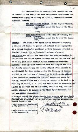 Agreement between the Congregation Emanu-El and Jack Levy (Minister) - October 21, 1927