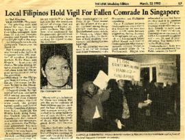 The Link - March 22, 1995 - Local Filipinos Hold Vigil for Fallen Comrade In Singapore