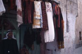 Clothing and cloth hanging outside a building
