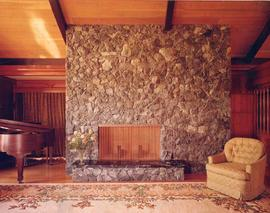Interior image of the livingroom and fireplace, Ross Residence, Vancouver, BC