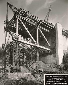 Close up of south abutment, Second Narrows Bridge, course of construction, Vancouver, British Col...