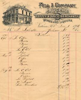 Fell & Company Grocers receipt for Mr. Frank Sylvester