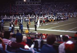 People lined up on a football field, many of whom are carrying flags, as well as a line of cheerl...