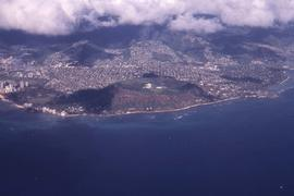 Aerial view of a city, possibly Honolulu