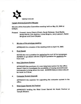 Minutes for Executive Meeting, May 23, 2000