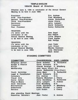 List of Temple Sholom Board of Directors 1994/1995