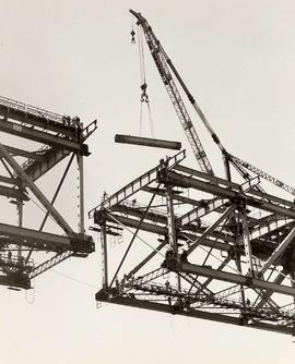 Crane above Incomplete Framework, Second Narrows Bridge, Course of Construction
