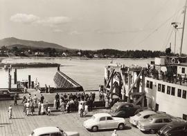 Cars on ferry dock, Sidney, Vancouver Island, B.C.