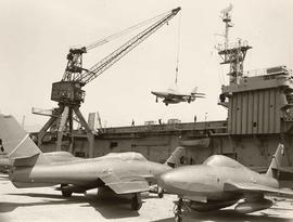 U.S. Naval ship 'Core' with jets
