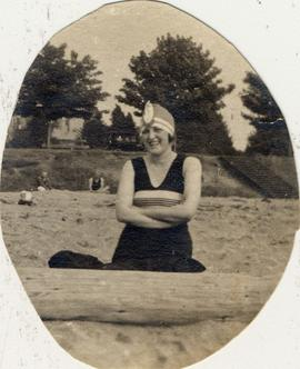 Unidentified woman on beach
