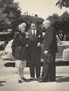 Ida and Eddie Cantor and J. S. Finkleman at the Opening of the Jewish Old Folks Home