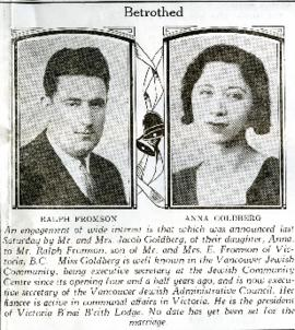 Newspaper Clipping: Betrothed, January 19, 1933