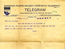 Telegram from Ralph, July 29, 1932