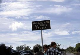 """You are now entering Zambia"" sign"