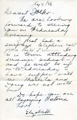 Letter from Elizabeth, July 7, 1946