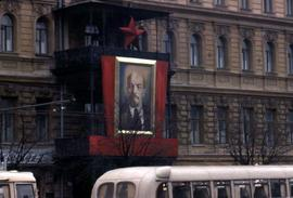 Large banner of Lenin on the side of a building