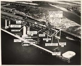 Annotated photo montage of the Second Narrows Bridge, for the Royal Commission, after its collapse