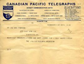 Telegram from the Lillian Freeman Hadassah, April 5, 1933