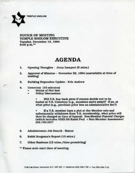 Minutes for Executive Meeting, December 13, 1994