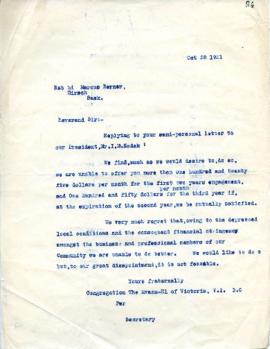 M. L. Platnauer to M. Berner replying to the terms of suggested contract - October 28, 1931